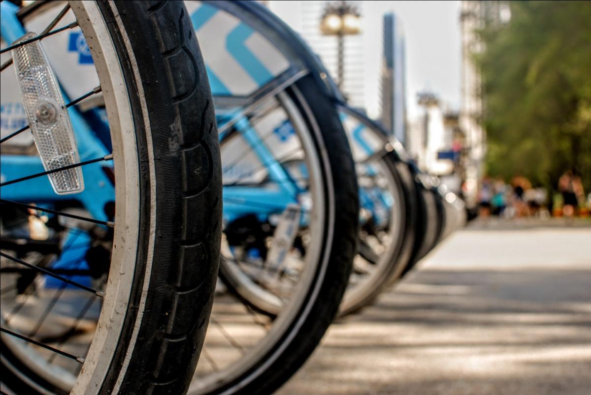 Black and silver e-bike tires